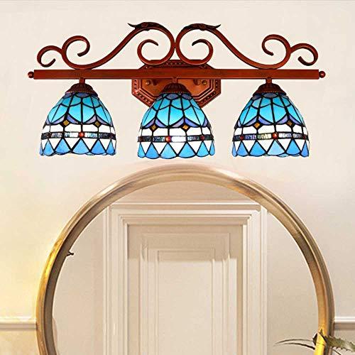 Tiffany Style Makeup Wandlampe, Retro Glasmalerei Außenlampe,3 Spots LED Spiegelfront Wandleuchte, Schlafzimmer Cafe Flur Kerzen-Wandleuchten Mehrflammige Leuchten