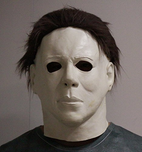 Michael Myers Mask Halloween Latex Horror Mask Full Head Deluxe With Hair by The Rubber Plantation tm