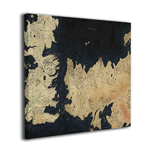 Hd8yehao Game of Thrones Map of Westeros Picture Modern Paintings Canvas Wall Art Prints Decorative Giclee Artwork Wall Decor-Wood Frame Gallery Stretched