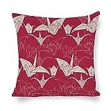 Mesllings - Funda de cojín de lino y algodón, diseño de grulla de papel con fondo rojo, ideal como regalo, 16x16 Set of 2