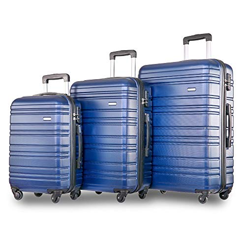 YINKUU Set of 3 Light Weight Hardshell 4 wheel Travel Trolley Suitcase Luggage Set Holdall Case-20/24/28 inch (Blue)