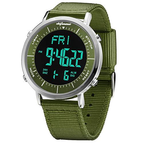 shifenmei Relojes Digitales, Reloj Deportivo Digital Unisex para Hombres, Mujeres, niños (Ejercito Verde-1)