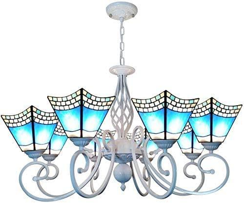 DALUXE Estilo de Tiffany lámpara de araña, Ventanas 8 Cabezas Colgando Cortina Ligera del Techo, Bola de Remolque de Alquiler y aleación de Zinc