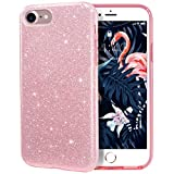 MILPROX iPhone 7 iPhone 8 Shiny Glitter Sparkly Case Slim Premium 3 Layer Hybrid Protective Soft Case for iPhone 7/8 Case - Rose Gold