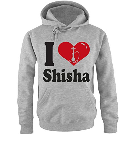 Comedy Shirts I love Shisha - klein - Zweifarbig - Herren Hoodie in Grau/Schwarz-Rot Gr. L