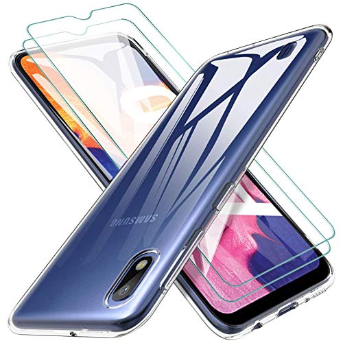KEEPXYZ Funda para Samsung Galaxy A10 Silicona Transparente TPU Antigolpes + 2 Pcs Protector de Pantalla para Samsung Galaxy A10 Cristal Templado, Vidrio Templado para Samsung Galaxy A10