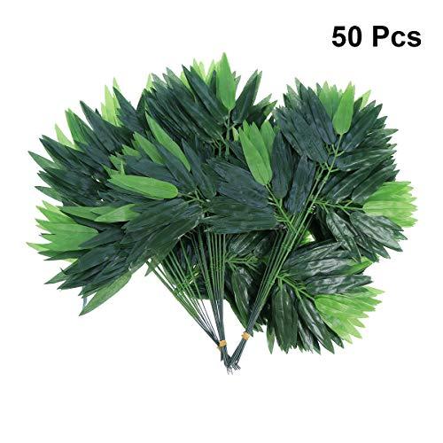 LUOEM 50 unids Artificial Hojas Verdes de bambú Hojas Verdes Falsas Plantas Hojas para la decoración de la Oficina del Hotel en el hogar