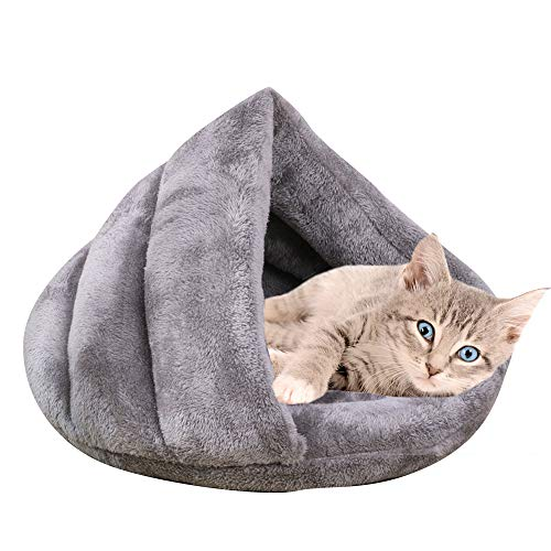 Vejaoo Warm Hundebett Haustierbett Kuschelhöhle Schlafsack für Katzen Kätzchen und Hund XZ001 (S: 50 * 37 * 29cm, Grey)