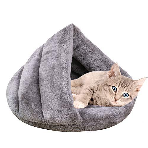 Vejaoo Saco de Dormir Cálido Cuevas casa Sleeping Bed Noble Cama para Perros y Gatos Puppy Conejo Mascota XZ001 (S: 50 * 37 * 29cm, Grey)