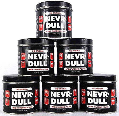 6x NEVR DULL Polierwatte für Chrom, Alu, Messing und andere Metalle 142 g