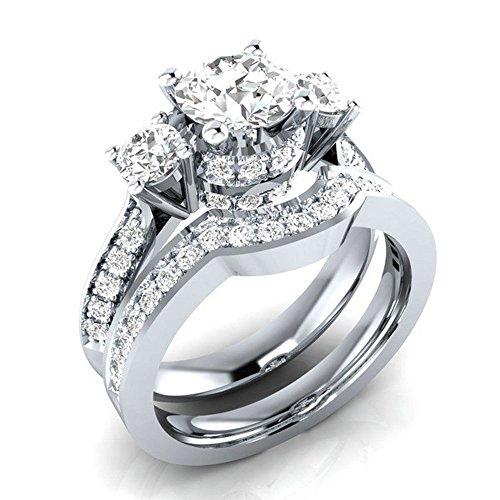 Quaan-Home Strass Ring Silber Verlobungsringe Edelstein für Damen und Männer(1 Set)