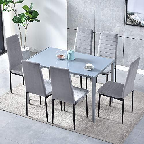 Set of 7 Dining Table Chair Set, Grey Glass Rectangular Dining Table and 6 Grey Velvet Dining Chairs, Dining Room Set with Metal Legs 7 Pieces Kitchen Table Chairs Set for Living Room Restaurant