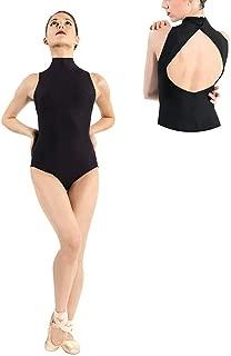 Black Leotard for Girls Ballet Dance Bodysuit Yoga Women Turtleneck Neck Sleeveless Back for Class Performance