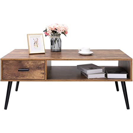 IWELL Mid-Century Boho Coffee Table with 1 Drawer and Storage Shelf, 43 inch Modern Cocktail Table for Living Room, TV Table, Rectangular Sofa Table, Office Table, Elegant Table, Rustic Brown
