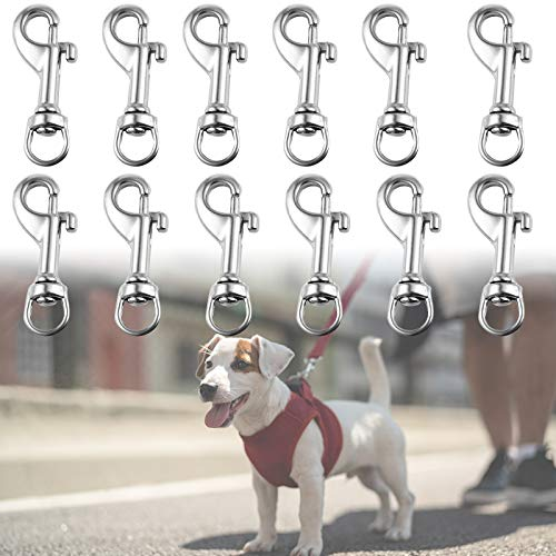 12Pcs Swivel Snap Hooks, Snap Hook with Spring Multipurpose Swivel Pet Buckle for Linking Pet Leash and Collar, Lanyard Key Rings Crafting (2.14 x 0.72 Inch)
