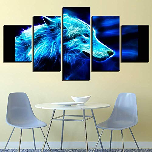 Print op Canvas Artwork 5 Panelen Abstract 3D Illuminate Pet Picture Wall Art Giclee Voor Home Office Decorations, B, 20 \ u0026 Times; 35 \ u0026 keer; 2 + 20 \ u0026 keer; 45 \