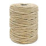 Tenn Well 50M 麻ロープ, 3.5mm 編み 麻縄 園芸 梱包 猫の爪とぎ 麻紐 キャットタワー 手作り DIY などに (茶色)