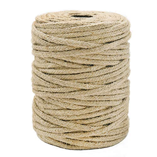 Tenn Well Braided Jute Twine, 165 Feet 3.5mm Thick Jute Rope for Crafting, Gift Wrapping, Bundling, Gardening and Macrame Projects (16 Strands)