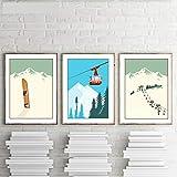 Vintage Wintersport Poster Ski Wand Kunstdruck Poster