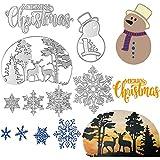 Buon Natale Fiocco di neve Natale Pupazzo di neve Albero Cervo Metallo Taglio Muore Stencil Carta Scrapbooking Carta fotografica Goffratura Craft Confezione da 7