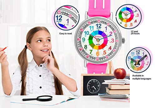 KIDDUS Educational Kids Watch for Children, Boys and Girls. Analogue Time Teacher Wristwatch with Exercises, Japanese Quartz Movement, Easy to Read and Learn The time