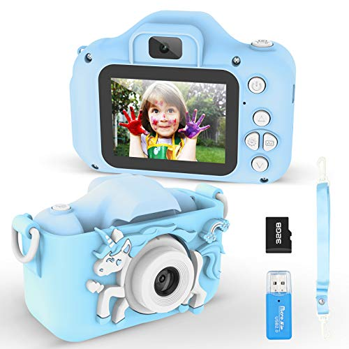 Mansso Kids Camera - 1080P HD Digital Camera for Kids with 2 Inch IPS Screen and 32GB SD Card,Mini Rechargeable and Shockproof Camera Creative DIY Camcorder for 3-12 Years Boys Girls Gift (Blue)