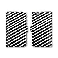 【ノーブランド品】 Galaxy S6 edge SC-04G スマホケース 手帳型 ストライプ柄 ホワイト ブラック 黒色 白色 3番 スマホカバー かわいい おしゃれ 携帯カバー SC-04G ケース ギャラクシー