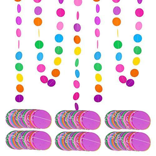 MEJOSER 4m * 6 Pezzi Striscione Carta Decorazione Colorato Appesso Festoni Ghirlanda da Appendere Compleanno Festa Carnevale