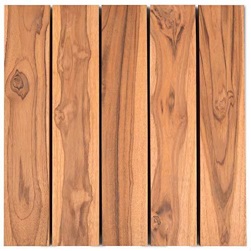 Sharpex Hardwood Interlocking Wooden Water Resistant Flooring Deck Tiles for Balcony, Roof, Garden Composite Decking (12