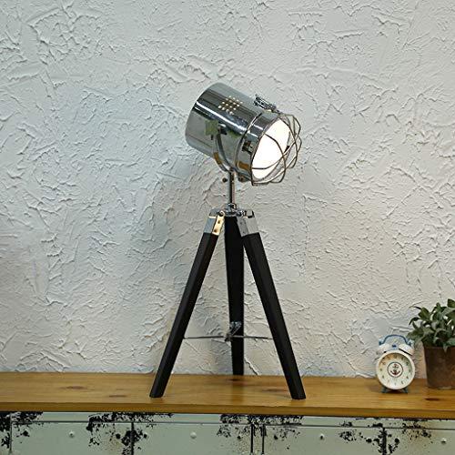 LANMOU Industrielle Vintage Stativ Tischlampen für Wohnzimmer Schlafzimmer, Retro Stil Holz Tischleuchte Verstellbare Höhe Suchscheinwerfer Stehende Leselampe, Nautische Scheinwerfer E14,Schwarz
