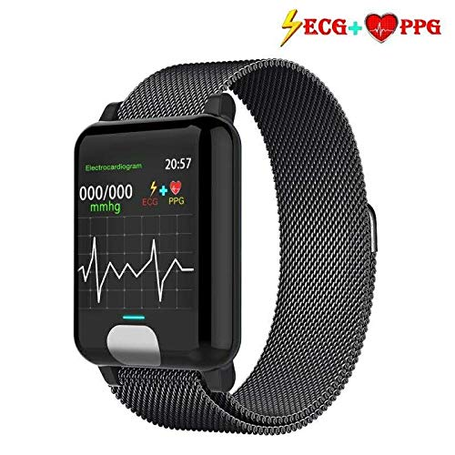 armo Pulsera de Actividad,ECG PPG Pulsera Inteligente con Pulsómetro Pulsera Deportiva y Monitor de Ritmo Cardíaco Monitor de Actividad Impermeable IP67 Reloj Fitness Podómetro (Metal Negro)