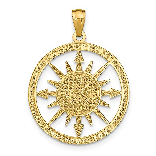 14k Yellow Gold/Lost Without You Compass Pendant Charm Necklace Sea Shore Boating Man Inspirational Luck Peace Support Fine Jewelry For Dad Mens Gifts For Him