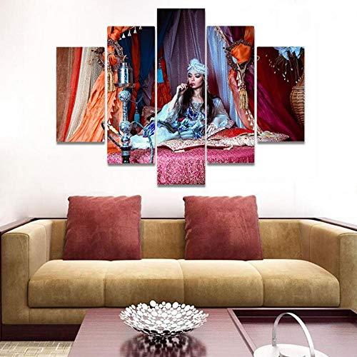 KDFN Wohnkultur Leinwand Wandmalerei Aquarell indische Wasserpfeife Bild sitzen Bett Wandbild Poster Leinwand Malerei