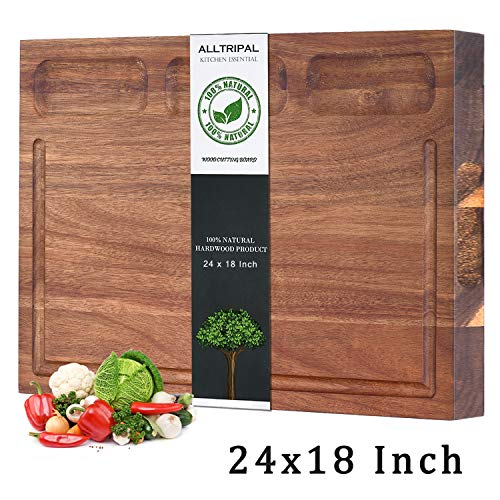 Cutting Board for Kitchen, Acacia Wood Large Reversible Wood Cutting Boards with Juice Groove 3 Compartments and Holder as Cheese Board Versatile Board (L, Acacia Wood)