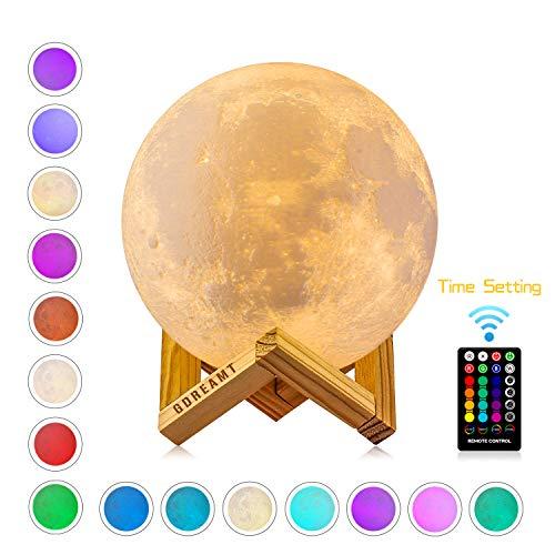 """Lámpara de Luna, GDREAMT 16 Colores 15cm 3D Lampara Luna/Control Remoto & Tactil/Función de Temporizador/Carga Universal USB/Regulable Lámpara de Noche 5.9"""" (Nuevo)"""