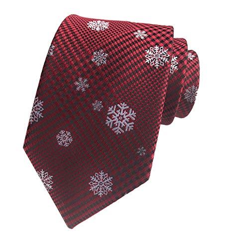 Secdtie Men's Xmas Ties Burgundy Red Cute White Snowflakes Dress up Suit Necktie