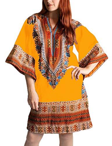 Vestido Midi Túnica Manga Campana Otoño Vestidos Africanos Casual para Mujer Amarillo S