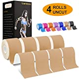Laneco Kinesiology Tape(19.7ft Uncut Per Roll, 4 Pack), Latex Free Physio Tape, Water Resistant Sports Tape for Knees, Ankles, Shoulder, Pain Relief and Injury Recovery, Professional Tape for Athletes