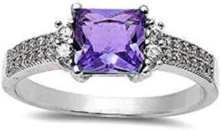 Blue Apple Co. Solitaire Classic Accent Wedding Ring Princess Cut Square Simulated Amethyst Round CZ 925 Sterling Silver