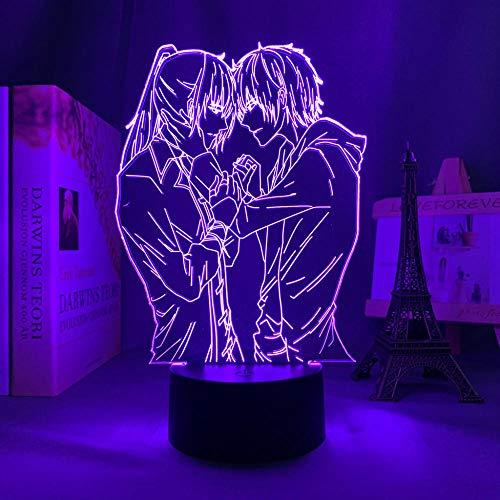 3D Illusion Lampa Mood Led Nattlampa Anime Spiral för sovrumsdekoration Födelsedag Manga Säng-med fjärrkontroll
