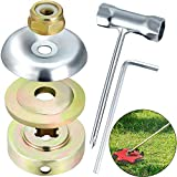 Mudder 4 Pieces Weed Trimmer Head Adapter with 1.4 mm Thick T-Wrench Crossing Wrench Sleeve and 5 mm Inner Hexagon Wrench for Lawnmower Blade Accessories