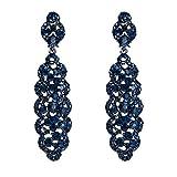 EVER FAITH Cristal Arte Deco de las Mujeres Vacío Flor Racimo Colgante Pendientes Azul Negro Tone