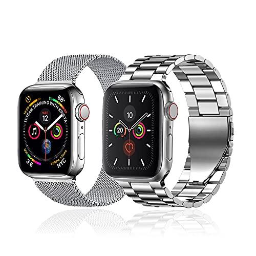 baklon 2 piezas compatibles con correa de reloj Apple 42 mm 44 mm, correa deportiva de acero inoxidable de repuesto compatible con iWatch Series SE/6/5/4/3/2/1