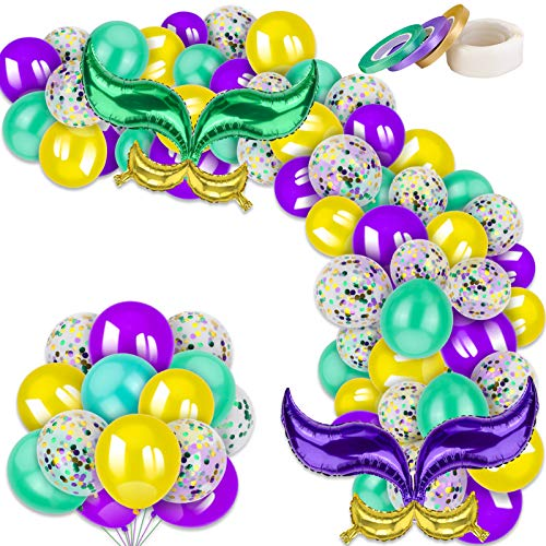 Qpout 66 Pieces Mardi Gras Balloons Garland Arch Kit, Purple Gold Green Latex Balloons And Confetti Balloons, 2 Tail Balloons for Carnival Mermaid Vintage Birthday Party Favor Decoration