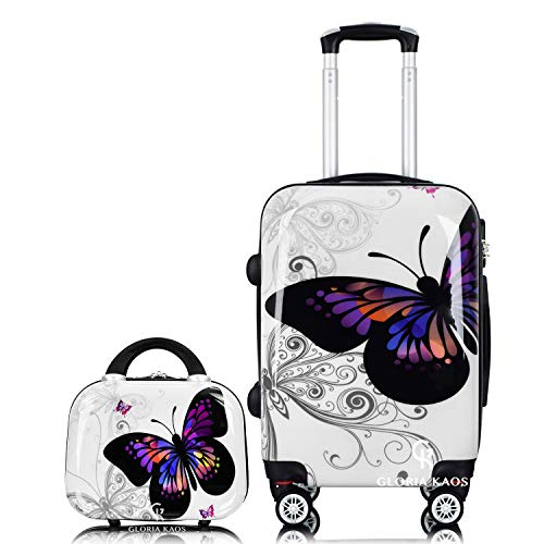 Gloria Kaos Bis Set Valigia Trolley 55cm + Vanity Case - Bagaglio a Mano Ultra Leggero In Policarbonato Flessibile