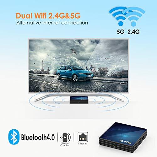 Android 9.0 TV Box 4GB RAM 64GB ROM, NinkBox N1 Max TV Box Android RK3318 Quad-Core 64bit Dual-WiFi 2.4GHz/5GHz, 3D Ultra HD 4K H.265 USB 3.0 BT 4.0 Smart TV Box