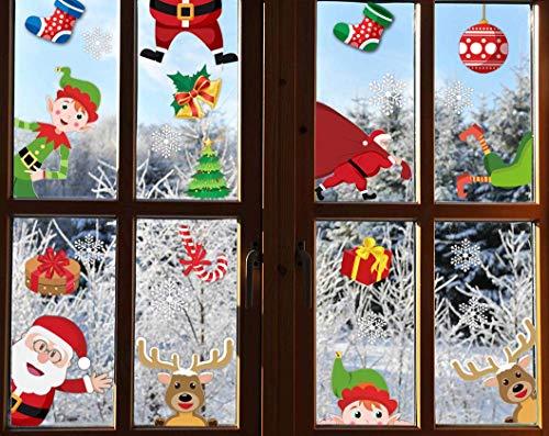 CheChury Fensterbilder Weihnachten Netter Weihnachtsmann Selbstklebend Fensterdeko Fenstersticker Winter Statisch Haftende Aufkleber Dekoration Elche Wiederverwendbar Schneeflocken Fenster