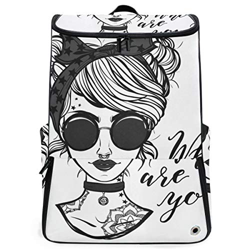 YUDILINSA Viaje Mochila,Ilustración vectorial Retro Girl Glasses Tattooslettering,Universitaria Mochila,Laptop Backpack con Compartimento para zapatos