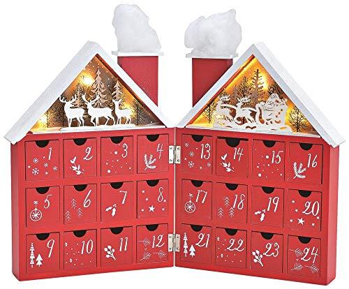 matches21 Adventskalender Holzhaus klappbar 3D Szenen Weihnachtsmann & Hirsche LED beleuchtet - Schubladen zum Befüllen