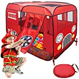 Play Tent for Kids Fire Truck Pop Up Playhouse Red (with Step) for Boys Girls or Pet Use Indoor/Outdoor Large Can Fit Children Crib Bed
